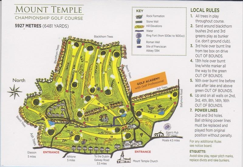 Golf Map Of Ireland.Mount Temple Golf Club Score Card